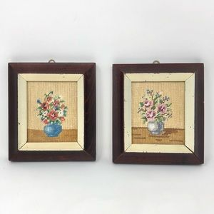 Framed Floral Mini Cross Stitch Wall Art Set of 2